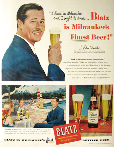 Don Ameche in Blatz Beer ad.