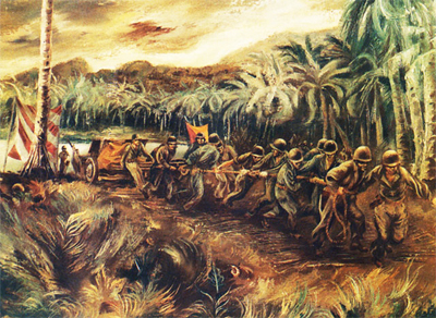 Landing Artillery at Rendova Island, Solomons Group by Aaron Bohrod.