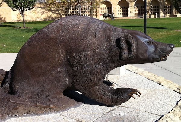 Bronze badger statue in front of entrance to Camp Randall Stadium.