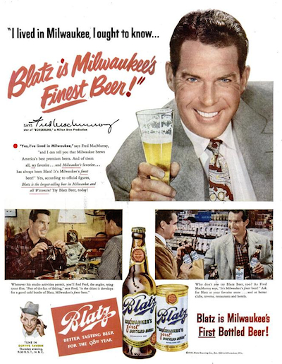Fred MacMurray in Blatz Beer ad.
