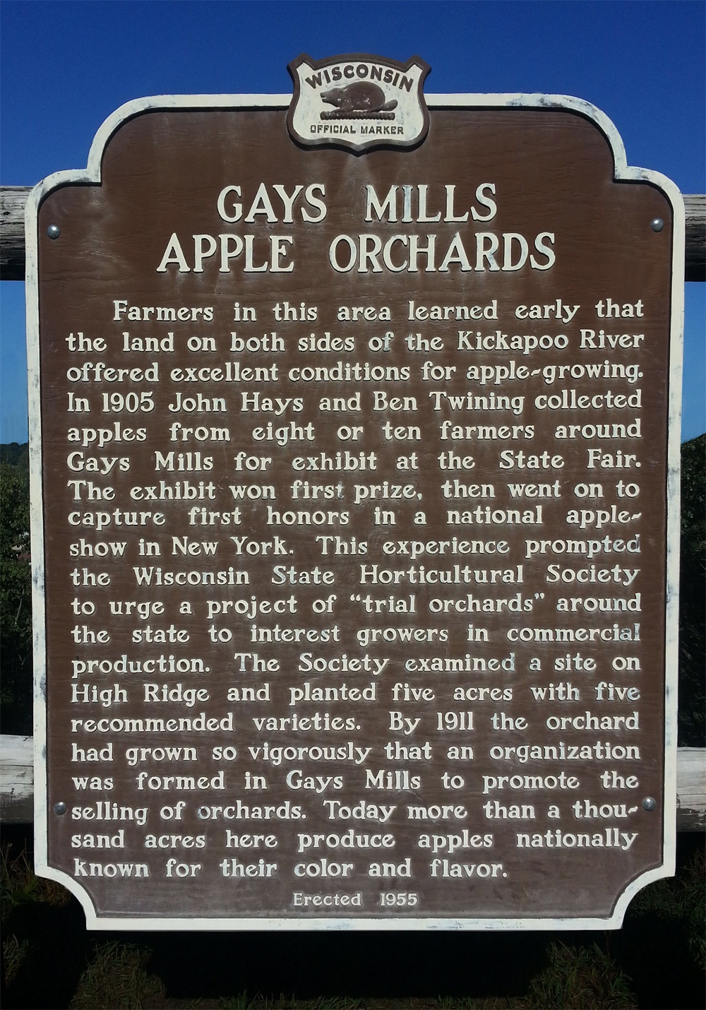 Gays Mills Apple Orchard Marker.