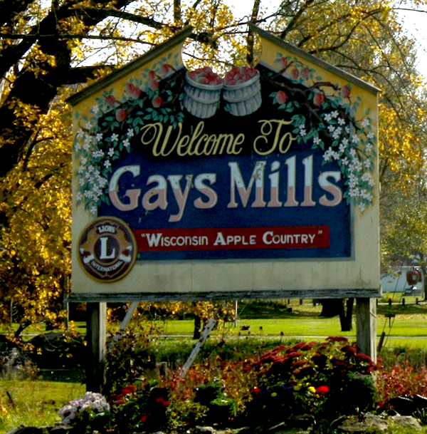 Gays Mills, Wisconsin welcome sign.