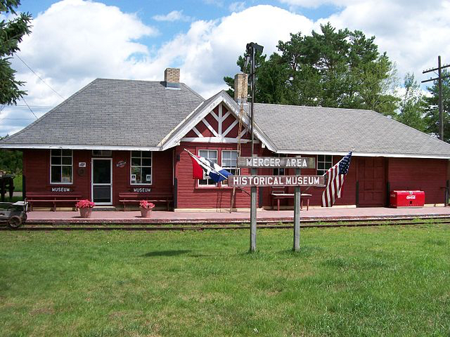 Railroad station hisotrial museum in Mercer, Wisconsin.