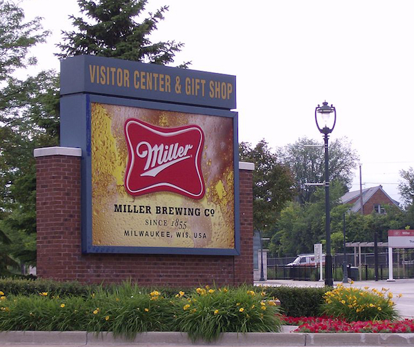 Miller Brewery entrance sign.