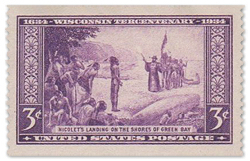 Nicolet landing at Red Bank in Green Bay in 1634 posage stamp.