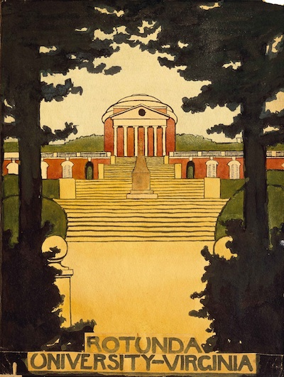 Georgia O'Keeffe, Untitled, The Rotunda at University of Virginia, 1912–14, watercolor on paper.