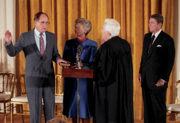 Justice William Rehnquist is sworn in as Chief Justice.