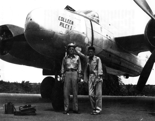 World War II photograph showing future Astronaut Donald K. Slayton (on right) and 1st Lt. Ed Steinman (on left) beside a Douglas A-26 bomber in the Pacific Theater of Operations during the summer of 1945.