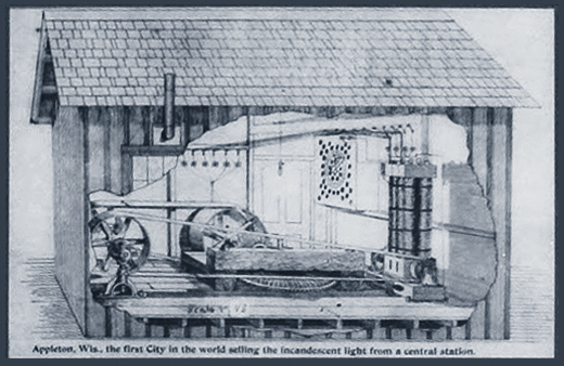 Schematic drawing of Vulcan Street Power Plant in Appleton, Wisconsin from description plaque.