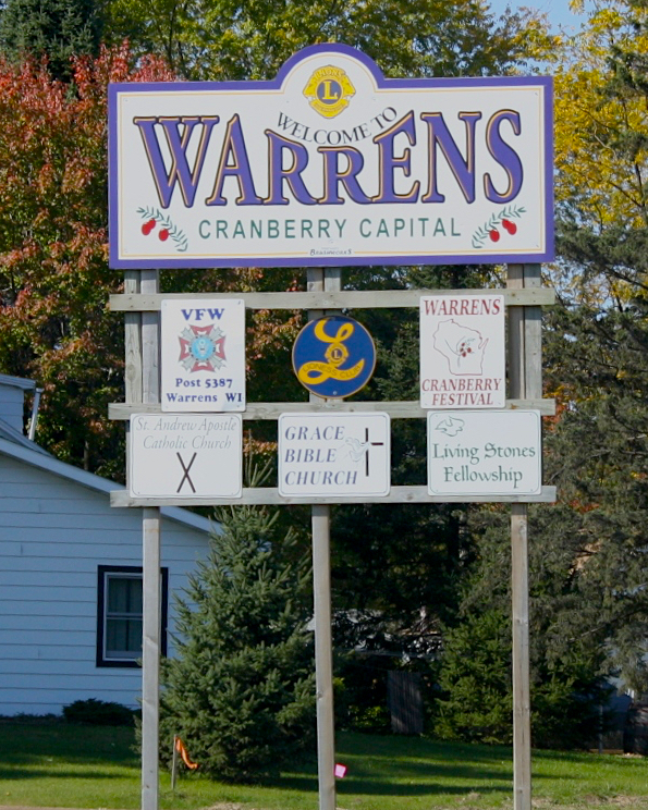 Warrens, Wisconsin welcome sign.