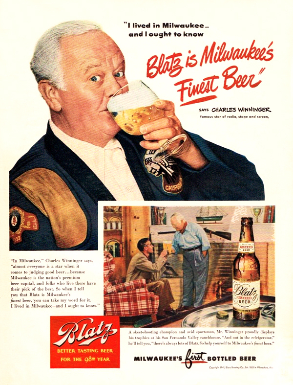 Charles Winninger in Blatz Beer advertisement.